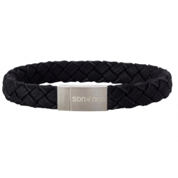 SON BRACELET BLACK CALF LEATHER 21CM 10MM